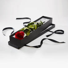 Luxury Black Custom Paper Cardboard Single Rose Box For Gift