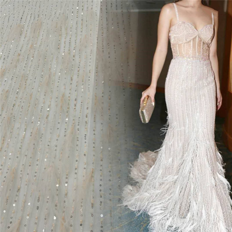 MX410 Wedding Tulle Embroidery with Ostrich Feather Fabric Material, Soft Bridal Dress Sequin Feather Lace Fabric