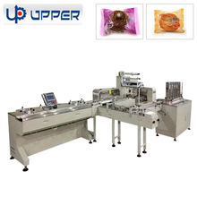 Automatic plastic tray dividing, product loading and packing line machine for round, square and elongated foods, mooncake