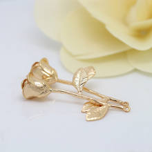 3D gold metal bouquet of roses pendant charms for necklace jewellery 24k gold rose flower pendant