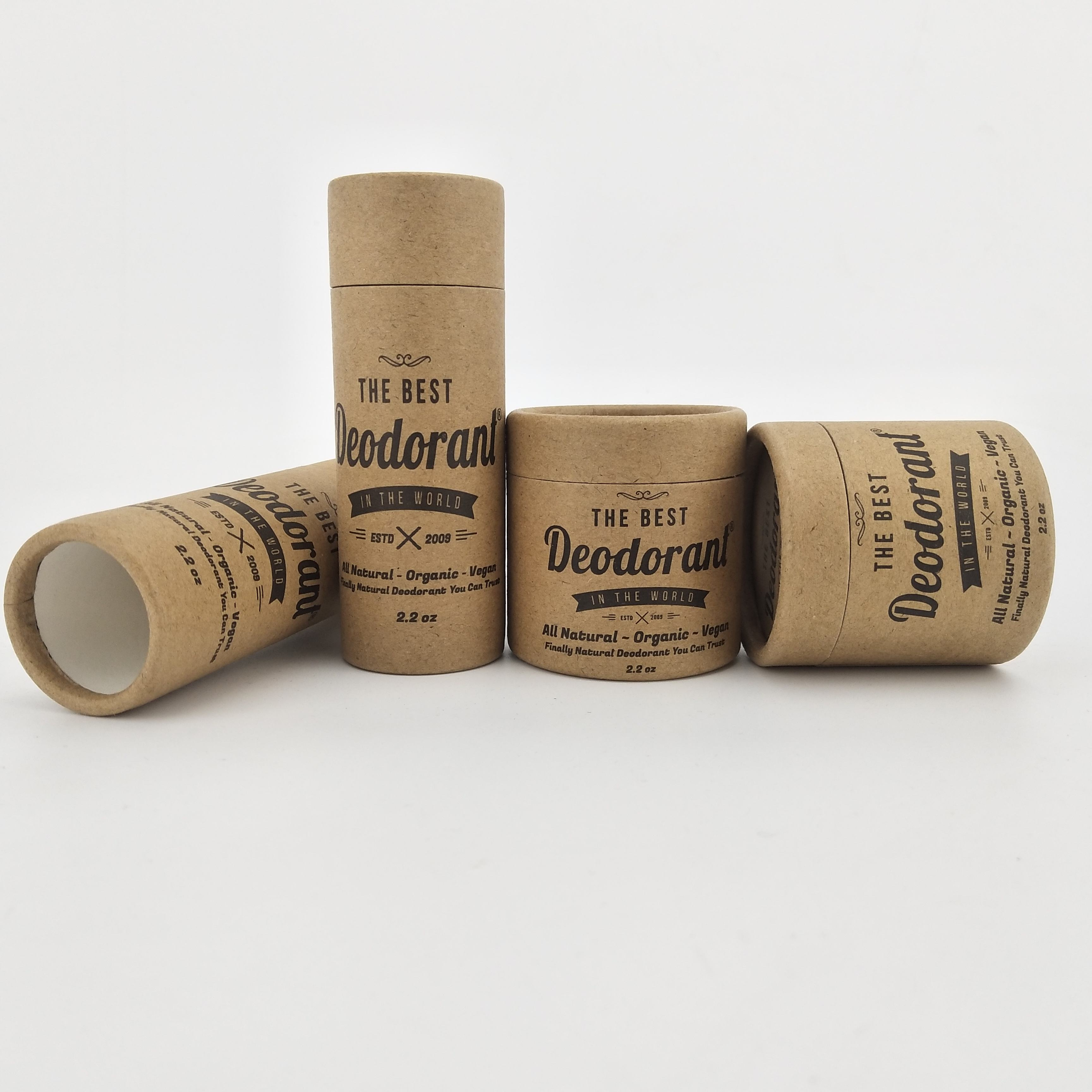 eco packaging paper jar kraft round paper cosmetic tube for lip balm,deodorant,lipstick