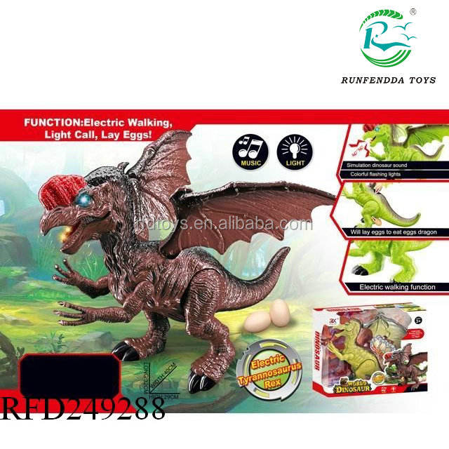Electronic plastic walking b o electric dinosaur lay egg toy