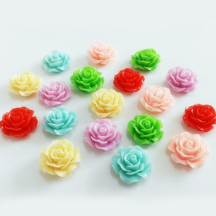 hot sale colorful flat back resin rose flower cabochon for jewelry making