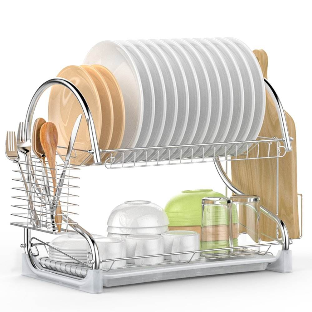 Fancy design easily assemble kitchen organizer two tiers detachable stainless steel dish rack metal