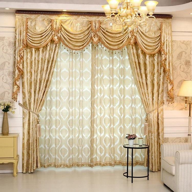 Home Goods Used Hotel Luxury Designs Fabrics Jacquard Windows Curtains with Attached Valance for the Living Room Door