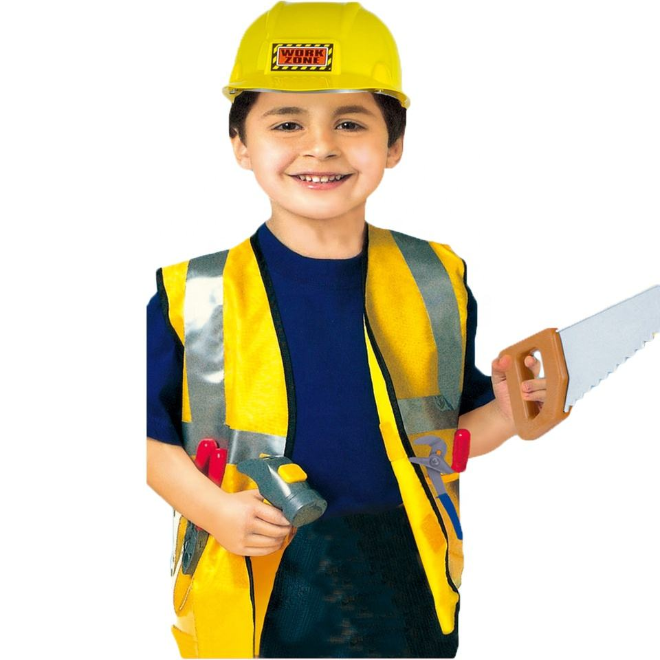 Halloween Role Play Outfits Construction Worker Costume With Toys Set Kids Cosplay Party Career Builder Uniform Carnival Costume