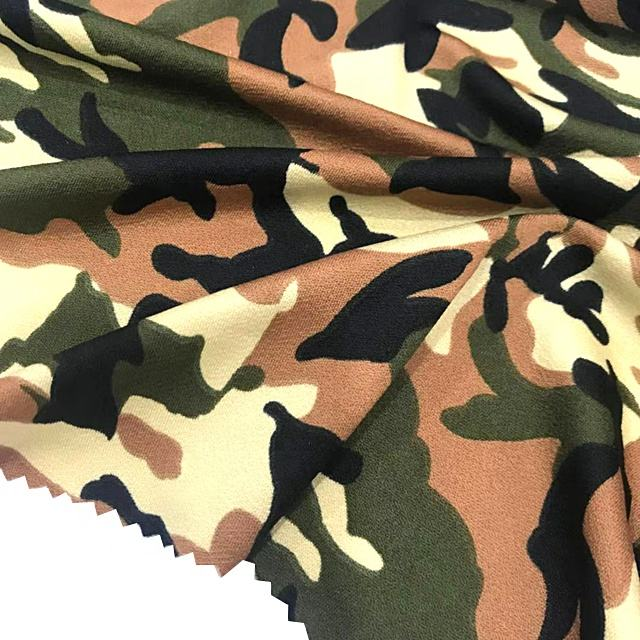 160gsm single jersey knitted camouflage printed 100 polyester moss crepe fabric for dress