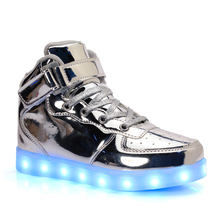 Multi-Color USB Charging Light Up Men Luminous Adult Sneakers Flashing Light High Top Led shoes