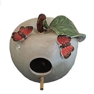 hot sell garden ornament ceramic fruit shape bird house for pet