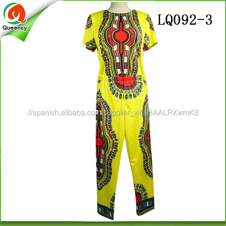 De diseño de moda africana tejido elástico ropa camisas pantalones para <span class=keywords><strong>las</strong></span> mujeres y los hombres en traje de partido amarillo
