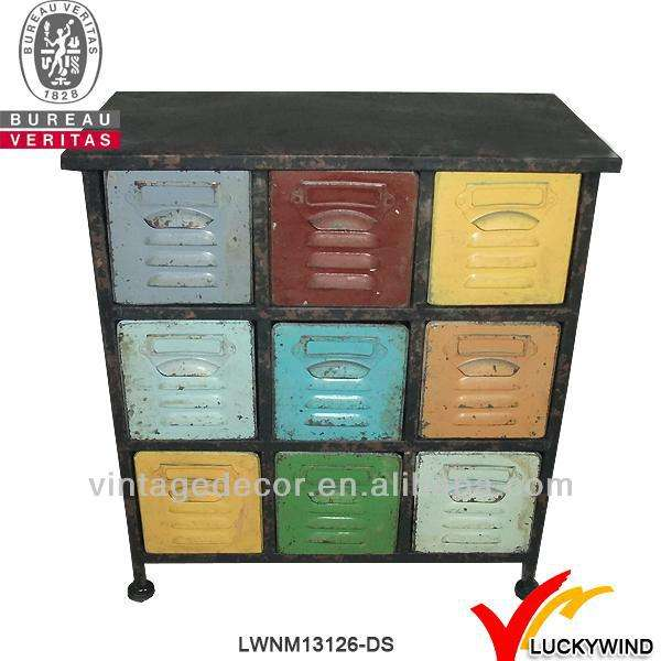 small hand painted metal drawer storage cabinet for sale