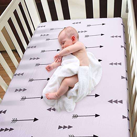 Amazon hot selling baby cot Sheet crib sheet and changing pad cover super soft easy wash and remove