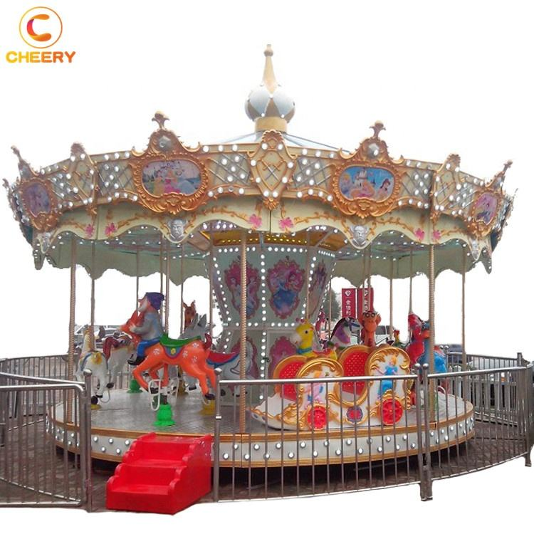 Trailer mounted kids amusement rides foldable simple 12/16 seats carousel mobile fiberglass carousel horses for sale