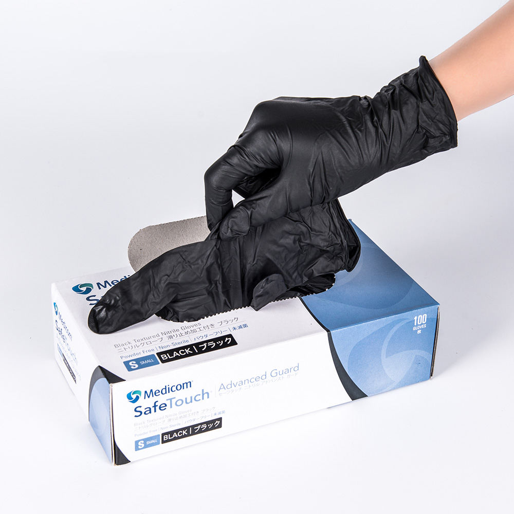 Tattoo Industry Or Meidical Used Black Nitrile Disposable Gloves