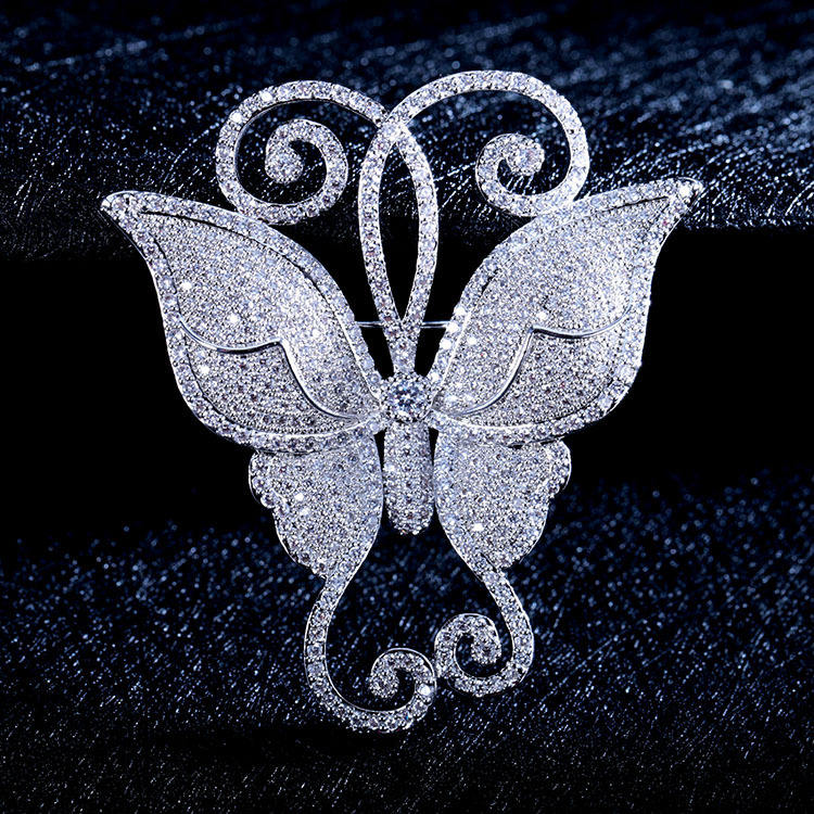 High Quality Vintage White Zircon Crystal Scarf Brooch Rhinestone Butterfly Women Bridal Brooch Pin