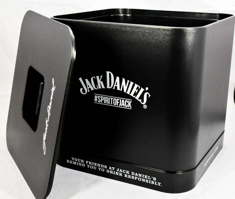 black square acrylic plastic double wall ice bucket with lid