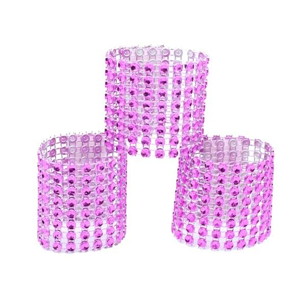 8 rows Rhinestone Mesh Napkin Ring Buckle Holder Hotel Chair Sash Bow Wedding Table Decoration