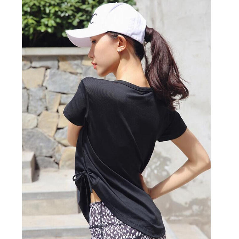 Loose Large Yard Speed Dry Clothes Women'S Sports Running Shirt Fitness Yoga Suit Round Collar Short Sleeve T-Shirt