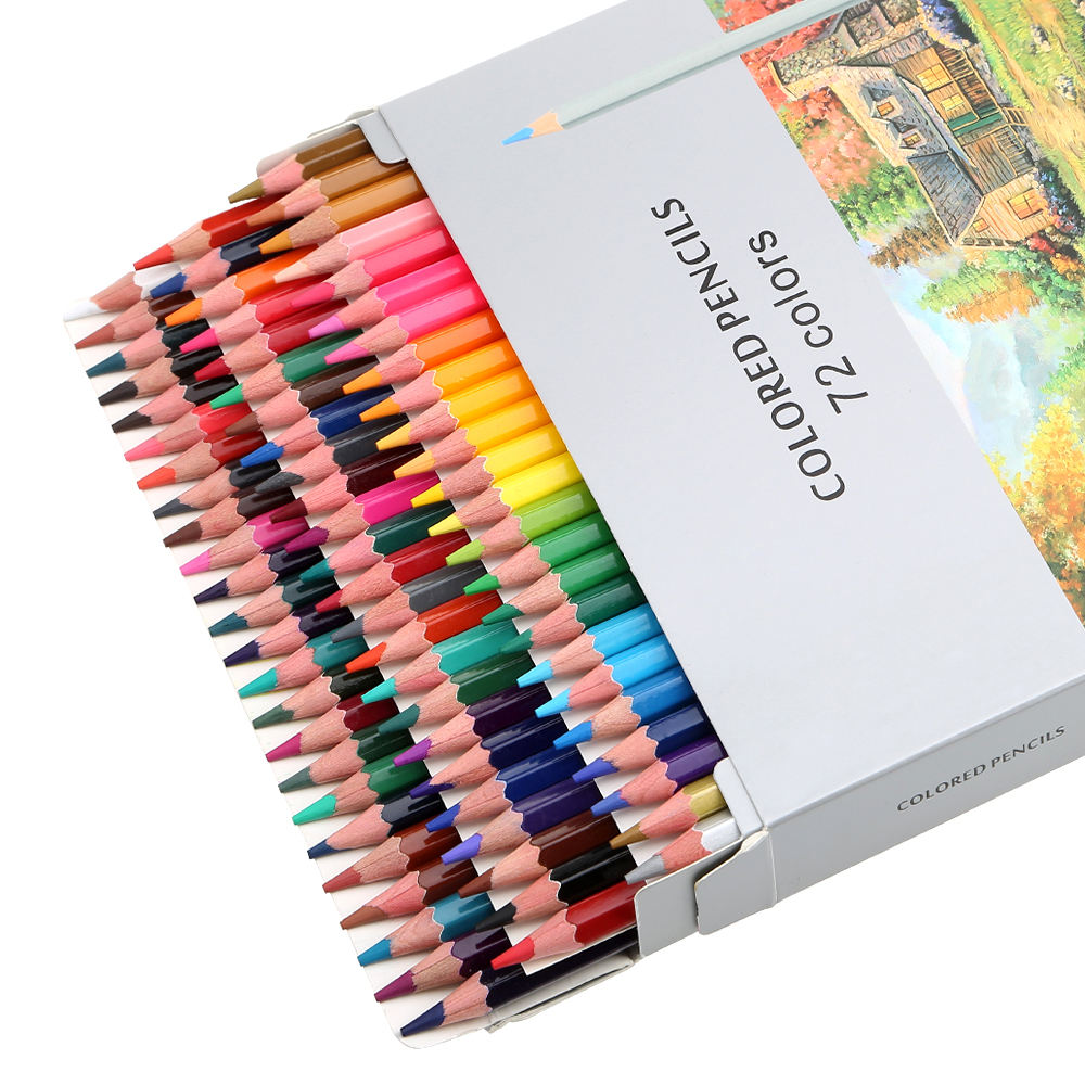 Natural poplar wood pencils, for kids with box 72 colored pencils/