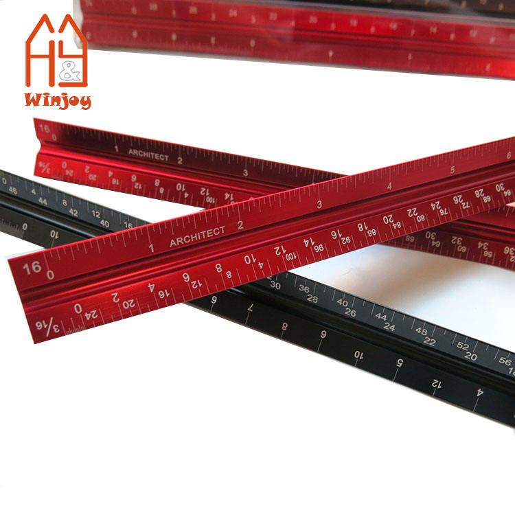 Red Color Laser Etched Aluminium Triangle Metric Scale Ruler For Architect
