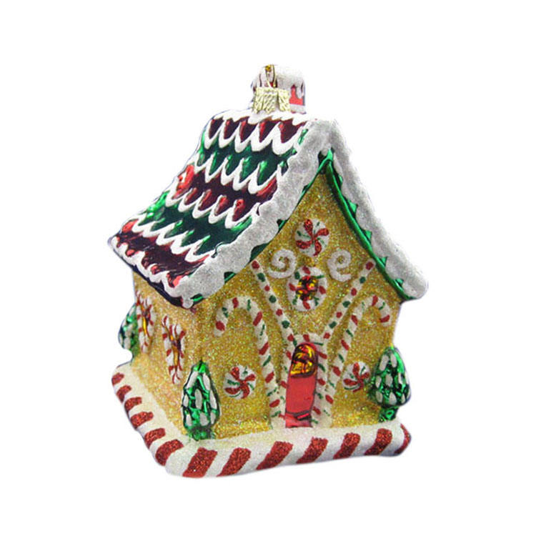Artdargon glass crafts promotional christmas tree blown hand painting glass house shaped christmas ornaments