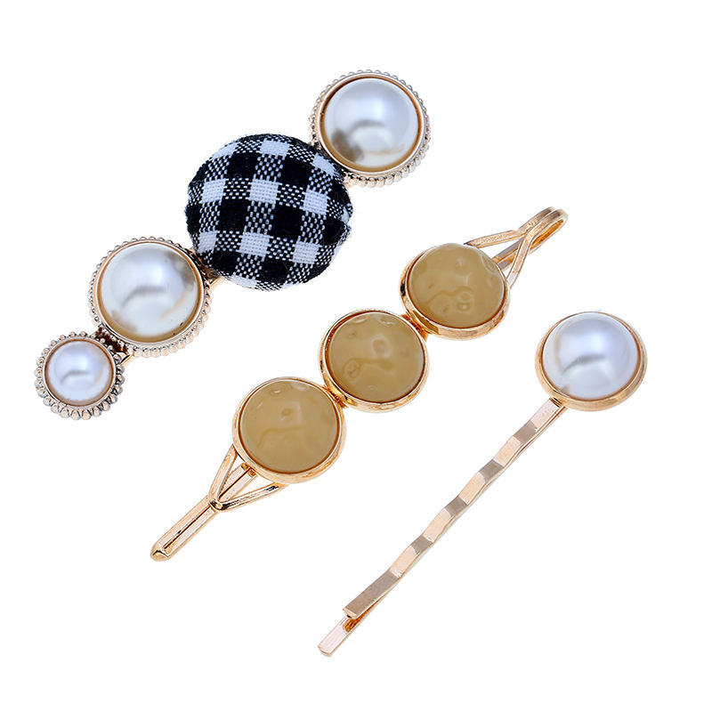 Korean Style Set Fabric Colors Grid Pearl Resin Hairpins Combination Set For Girls