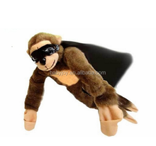 Ready to ship Yangzhou stuffed animal factory custom logo on cape flying screaming monkey