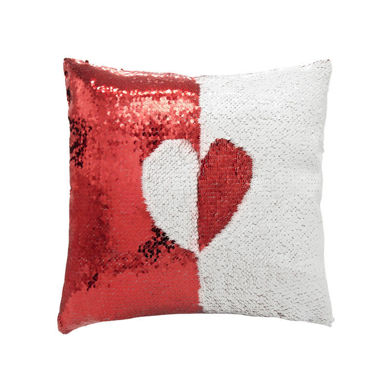 Red Custom Design Printable Sublimation Square Sequin Pillow Case
