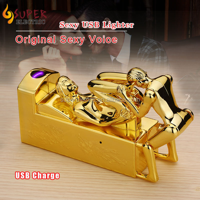 New Design Single Arc USB Rechargeable Sexy Lighters with Original Real Moaning