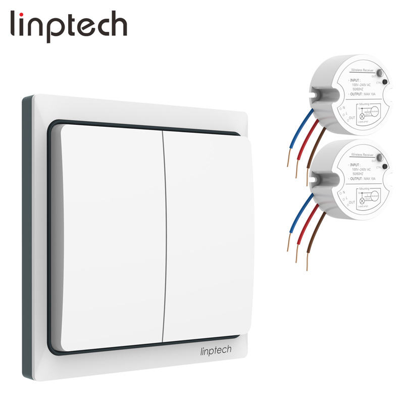 Linptech K4RW2 Kit wireless batteryless 220v light switch kit wireless wall light switch no battery