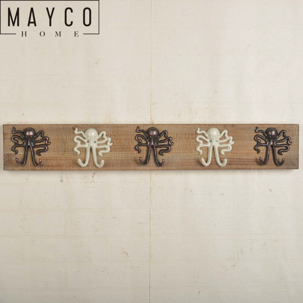 Mayco الفلاح الزهر الأخطبوط الحائط الزخرفية العتيقة خشبية الشماعات