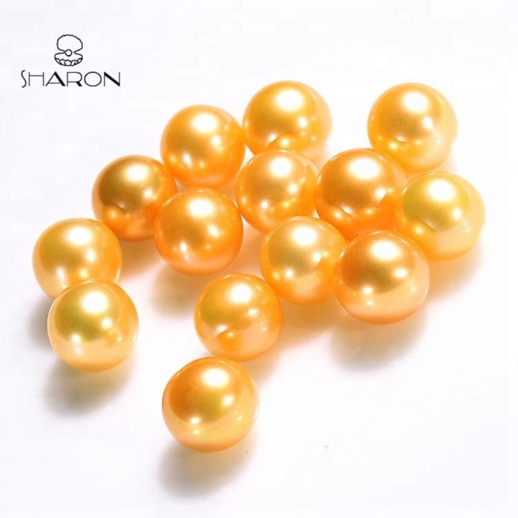Khusus Warna 7-8Mm South Sea Gold Kilau Tinggi Round Air Tawar Mutiara Longgar
