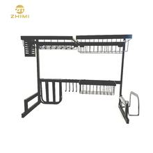 High Quality Standing Style Two Tiers Staining Over Sink Kitchen Storage Rack Shelf Drying Dish Rack