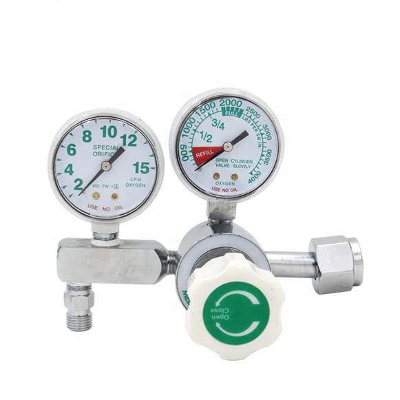 oxygen regulator medical double gauge flow meter gauge
