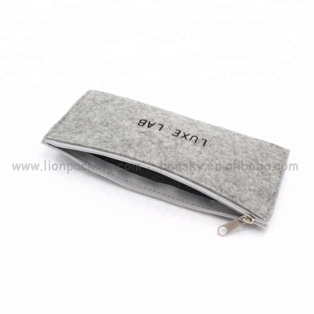 Custom logo printed mini felt 화장품 백 zipper make up brush pouch