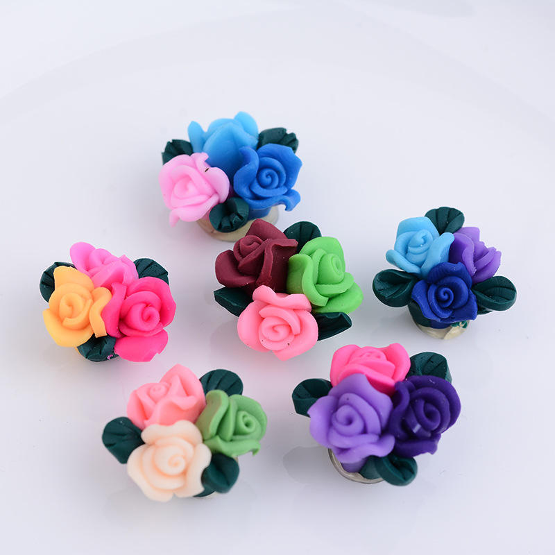 DMO bobao new unique wedding dress polymer clay flowers ,nice DIY decorative artificial flowers as clothes and hat accessories