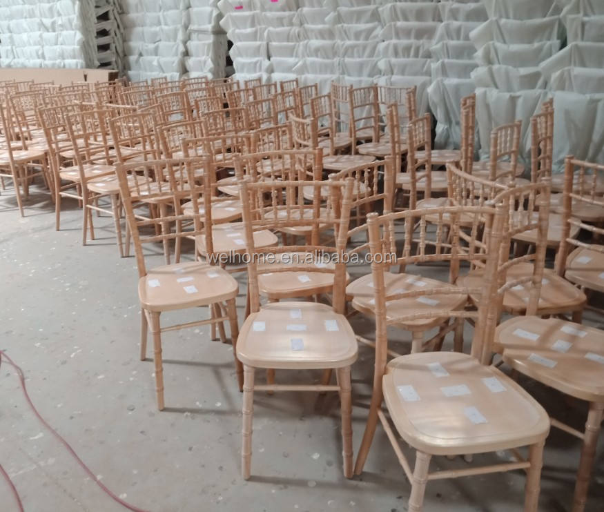 Stackable UK market whitewash chiavari chairs with solid wood seat