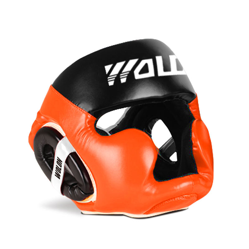 Orange sports safety head guard in use boxing gym