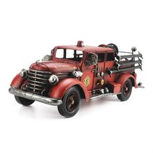 Metal Iron European Retro Handmade Fire Truck Model Antique For Shop Home Bar Decoration