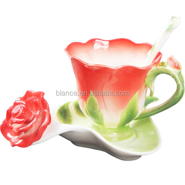 enamel rose coffee cup in rose shape mug for Valentine's Day