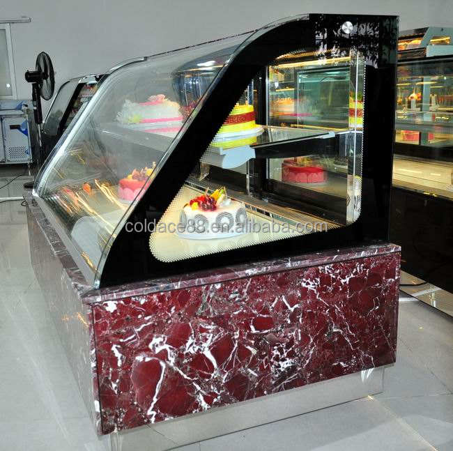 Natural Marble Two Layers Cake Refrigerated Showcase For Bakery