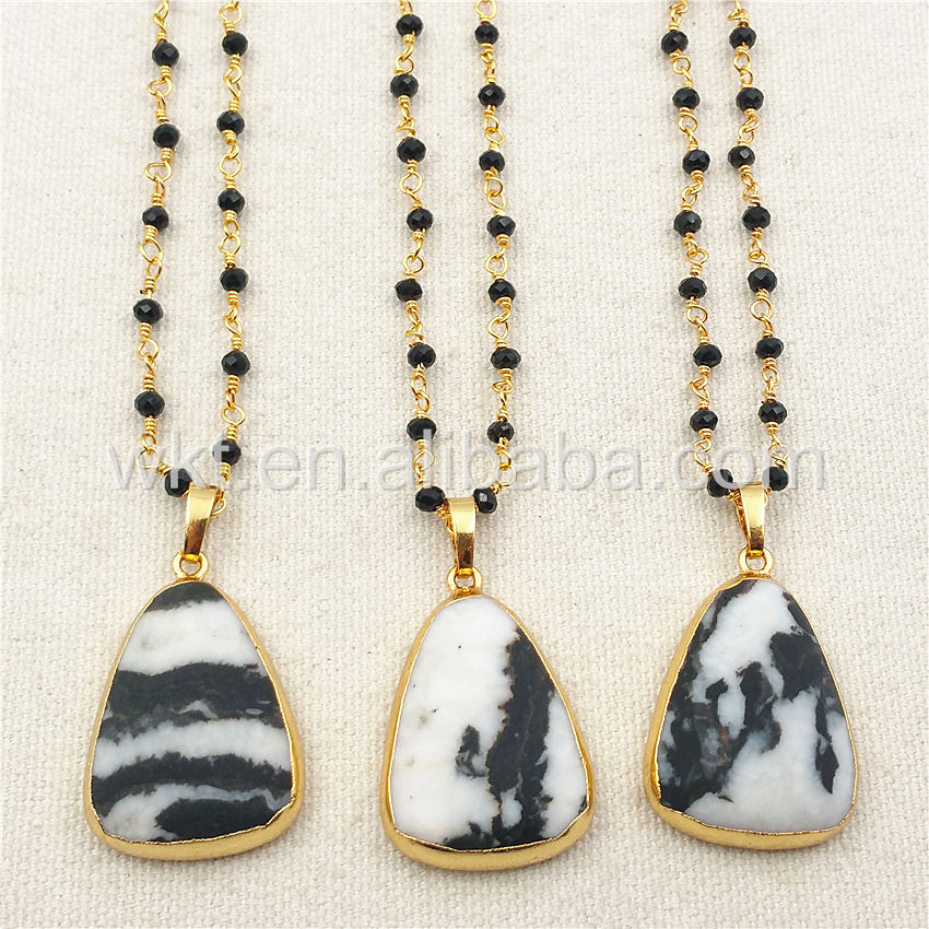 "WT-N867 Fashion Teardrop Natural Gemstone Necklace with 24k real gold electroplated 18"" gold chian Zebra Gemstone necklace"