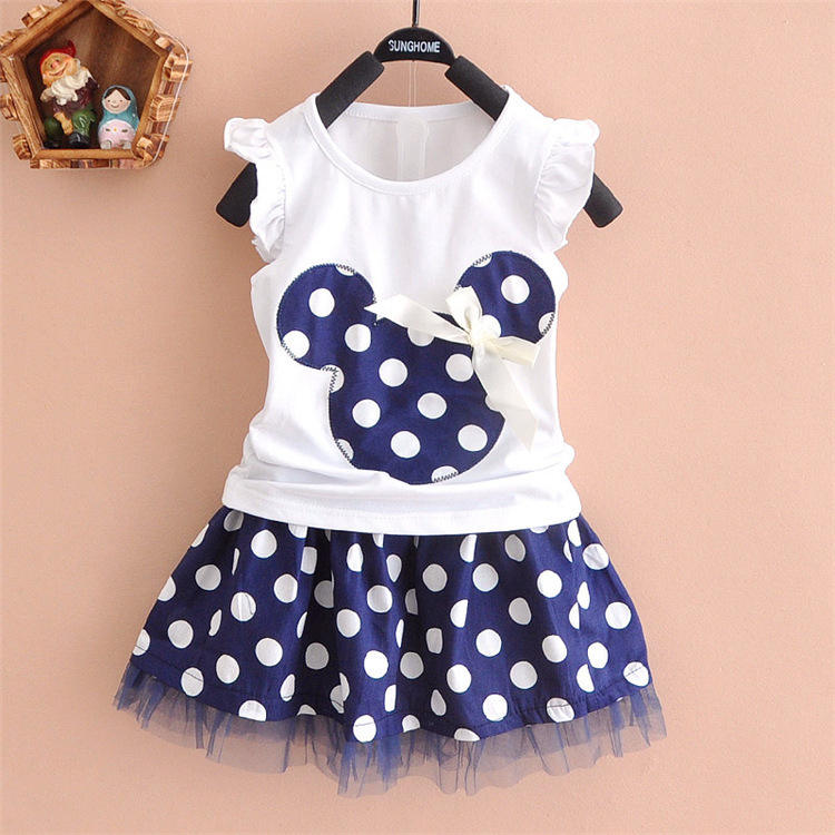 Mickey head dot cartoon 2 pieces skirt set 3-5 year old kids clothes baby girl dress