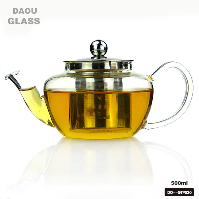 Borosilicate glass tea pot with Removable 304 stainless steel tea infuser , origin of Chinese craft glass