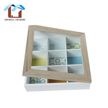 Hot sale 9 Chest Compartments Tea Bag Packing Organizer Storage Wooden Gift Tea Box