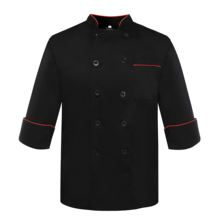 Wholesale Promotional Fashion Design Hotel Restaurant uniform black/white Colors Chef Coat Jacket With Double Lines of Buttons