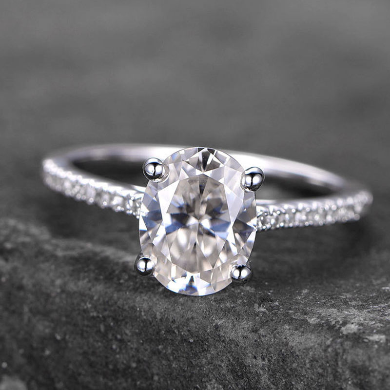 PLW02 Eenvoudige Ontwerpen Moissanite Engagement Ring In 14 K White Gold Wedding Ring