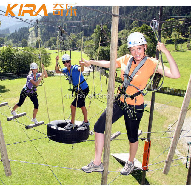 Team Building Adventure Tower Outdoor Challenge Obstacle Ropes Course Amusement Park Equipment