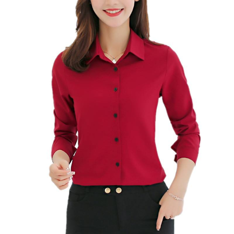 10 Color Ladies Office Clothes Blouse Shirts Casual Long Sleeve Tops Work Wear Elegant Slim Fit Women Blouse E173RX