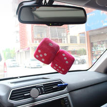Multi Color Cute Car Dice Ornaments Plush Adhesive  Mirror Pendant Decoration hanging dice